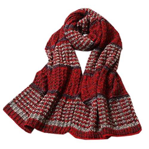 封建簡単にコントラストユニセックスメンズレディースソフトスカーフ快適な編み物暖かいスカーフネッカーコフネックウォーマー、レッドレッド