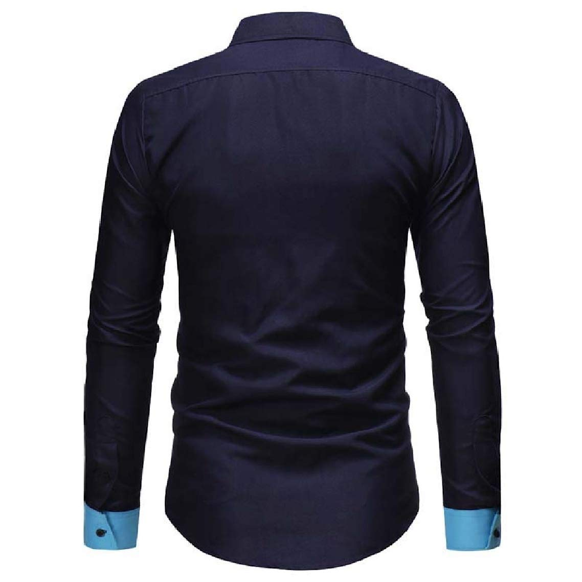 Godeyes Mens Autumn Square Collar Stitching Hit Color Long Sleeve Shirts