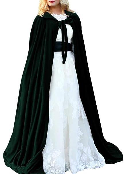 Romacci Capa de Halloween Con Capucha Terciopelo Brujas Princesa Muerte Cabo Largo Traje de Niños Adultos Cosplay Outwear