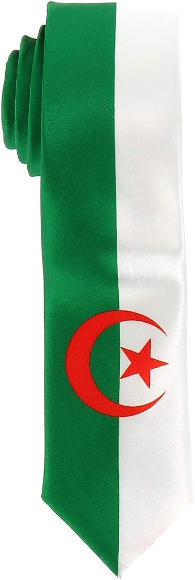 Corbata Bandera Argelina - Colores del País Argelia - Corbata Verde Blanca y Roja - Hombre o mujer - Evento o Disfraz: Amazon.es: Ropa y accesorios