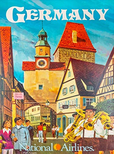- A SLICE IN TIME Germany National Airlines German Europe European Vintage Travel Home Collectible Wall Decor Advertisement Art Poster Print. 10 x 13.5 inches.