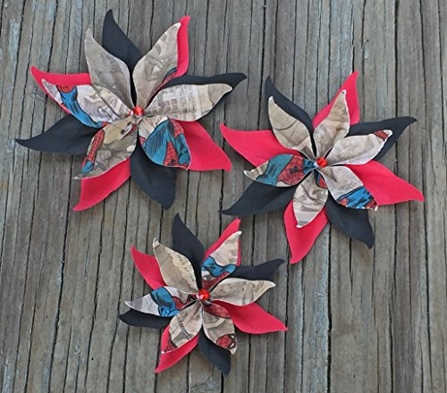 Black and Red Character Set Of 3 Paper Layered Rhinestone Bling Flower Wedding Decoration Favor Card Making from Bella Supply Boutique