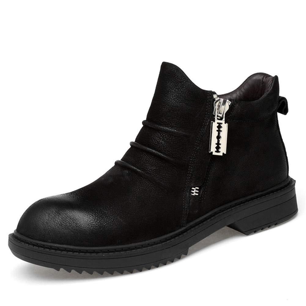 冬のメンズシューズ、秋冬の綿の靴メンズカジュアルな革のマーティンのブーツチェルシーのブーツ滑り止めソフトボトム大サイズの男性の靴 (色 : A, サイズ : 39) 39 A B07L746ZXM