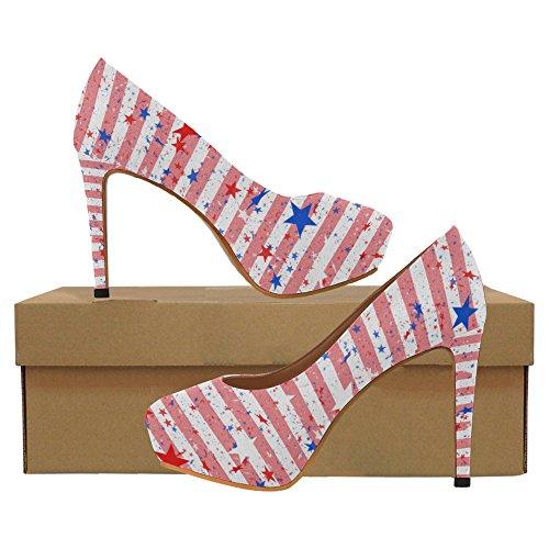 InterestPrint Blue Zebra Stripes Womens Sexy High Heels Pump Shoes Star and Stripes UozDcoM4ZQ