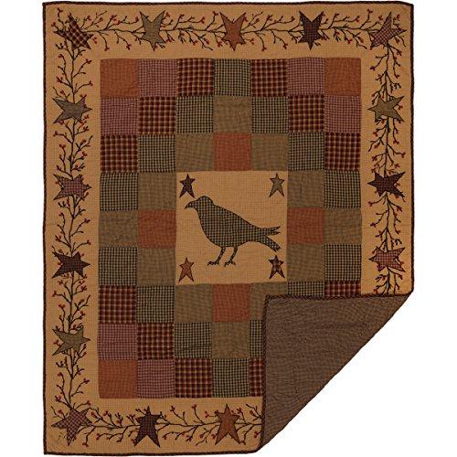 VHC Brands Primitive Decor Settlement Crow Rod Pocket Cotton Pre-Washed Patchwork Star Throw, Burgundy Red