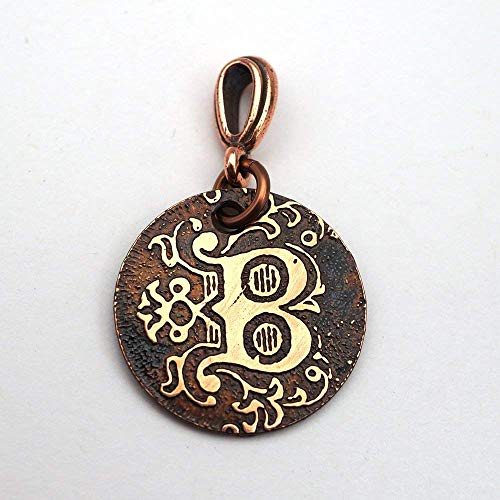 Small handmade etched copper letter B pendant 22mm