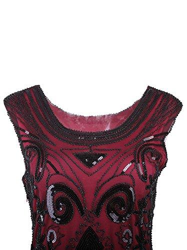 Vijiv Women s 1920 s Vintage Gatsby Bead Sequin Art Nouveau Deco Flapper  Dress a57a19c1750f