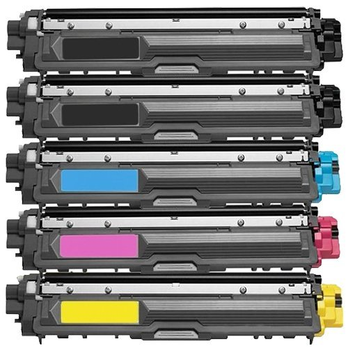 SuppliesOutlet Brother TN221 / TN225 Compatible Toner Cartridge 5-Pack Value Bundle (2 Black 1 Cyan 1 Magenta 1 Yellow) for Brother ()