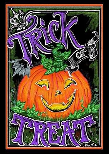 Toland Home Garden 1112240 Tricky Pumpkin 12.5 x 18 Inch Decorative, Fall Halloween Trick or Treat, Garden Flag