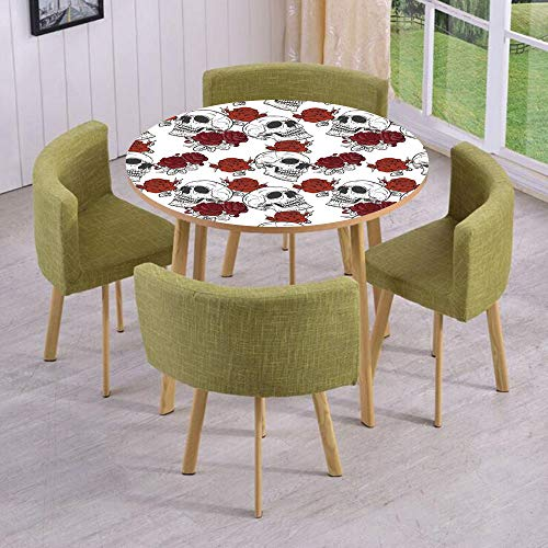 iPrint Round Table/Wall/Floor Decal Strikers/Removable/Retro Gothic Dead Skeleton Figures with Rose Halloween Spooky Trippy Romantic/for Living Room/Kitchens/Office Decoration ()
