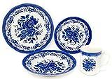 Tudor Royal Collection 16-Piece Premium Quality Round Porcelain Dinnerware Set, Service for 4 - VICTORIA Blue, See 10 Designs Inside!
