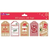 WOW 40 x Christmas Novelty Luxury gift tags for gift wrapping - 5 attractive designs.