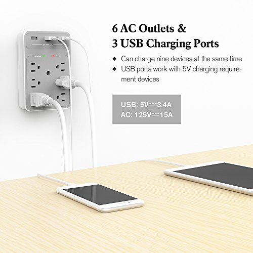 Huntkey 6 AC Outlets Surge Protector with 3 USB Charging Ports 34 Amp SMD607