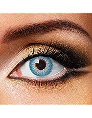 Partylens kleurlenzen - Shiny Blue - jaarlenzen inclusief gratis lenzendoosje - blauwe zachte contactlenzen