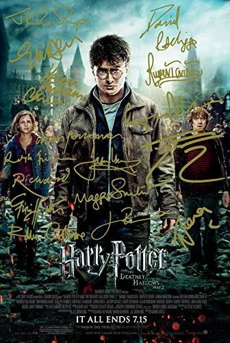 Harry Potter y las reliquias de la muerte, parte 2, firmadas por PP, elenco, Daniel Radcliffe, Emma Watson, Rupert Grint, Gary Oldman, Helena, Bonham ...