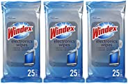 Windex Electronics Screen Wipes for Computers, Phones, Televisions and More, 25 count - Pack of 3 (75 Total Wi