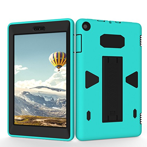 Teenystar Case for Amazon Fire HD 8 (2017 7th Generation), Shock Proof High Impact Hybrid Drop Proof Armor Defender Protection Cover Built with Stand for All-New Fire HD 8 Tablet (Mint Green/Black)