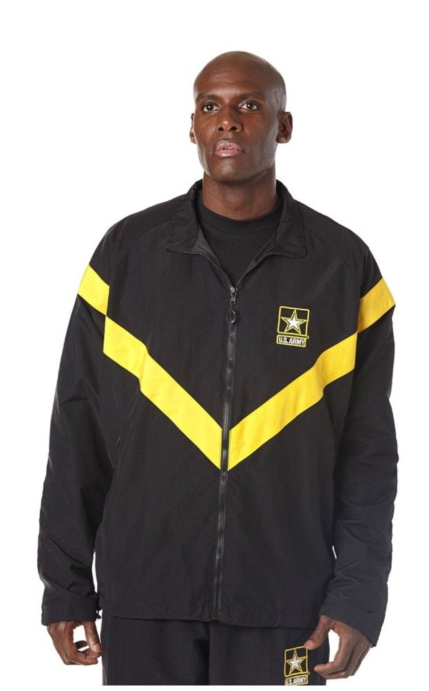 GI US Army PT Jacket APFU (Army Physical Fitness Uniform) Latest Style Black & Gold (Small)