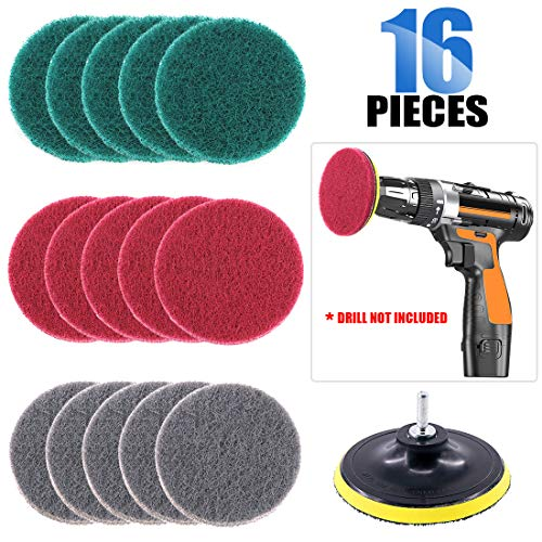 Glarks 12Pcs 5 Inch Drill Power Brush Tile Scrubber Scouring Pads Cleaning Kit with 5 Inch Disc Pad Holder for Bathroom & Kitchen Cleaning, 3 Different Stiffness (Red, Gray, Green)