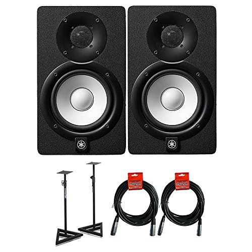 Yamaha HS Series HS5 2-way Bass-Reflex Bi-amplified Nearfield Studio Monitor with Samson SAMS200 Heavy Duty Monitor Stands And Strukture SMC20 20' XLR Microphone Cable