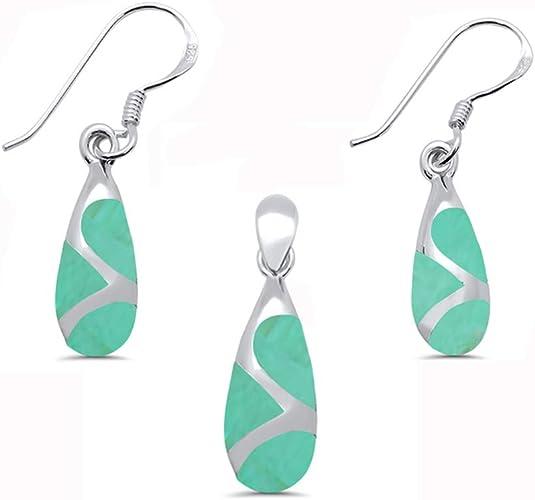 Teardrop Jewelry Set Simulated Stone Dangling Earrings Pendant 925 Sterling Silver Choose Color