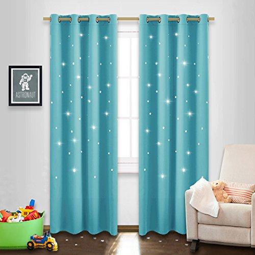 (NICETOWN Cosmic Star Blinds for Kids - Naptime Essential Nursery Window Curtains for Kid's Room, Blackout Curtain Panels with Die-Cut Stars (Double Pieces, 52 x 95-Inch, Turquoise Blue))
