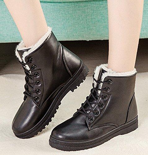Bottines Antidérapage Chaussures Neige Cuir Pour Bottes Noir Laçage Plates De Pu Hiver Chaude Baymate Martin Boots Femme cASqUU