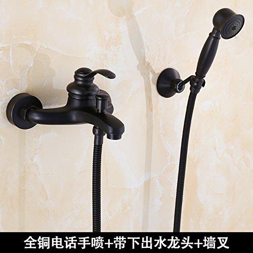 JWLT Alle Kupfer Badewanne Dusche Dusche, zwei in einem Waschen im Europäischen Stil mit antiken Bad Armatur Dusche schwarz, kupfer Spray (Telefon Kupfer hand Spray)