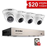 ZOSI 4CH FULL TRUE 1080P HD-TVI DVR Recorder HDMI With 4X 1980TVL Indoor outdoor Surveillance Security Dome Camera System 1TB hard Disk -65feet Night Vision -IR Cut built in -Quick Remote Access