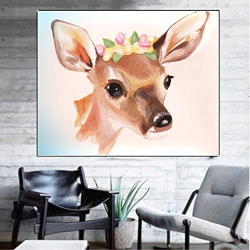 5D Diamond Painting by Number Kits, Crystal Rhinestone Diamond Embroidery Paintings Pictures Arts Craft for Home Wall Decor, Colorful Deer (F) by Franterd DIY (Image #1)