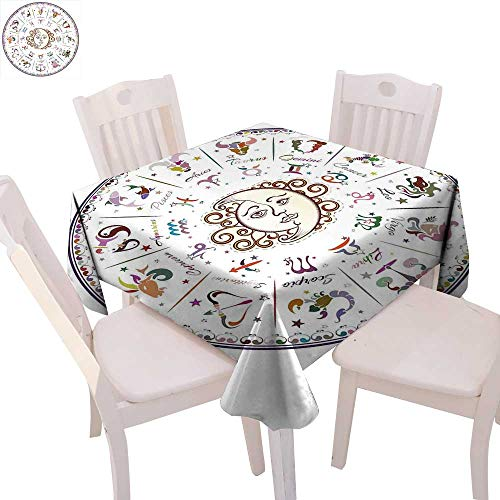 Forecast Blush - cobeDecor Zodiac Dinner Picnic Table Cloth Astrology Map with Descriptions Forecast for Person Future Birth Natal Earth Theme Waterproof Table Cover for Kitchen 50