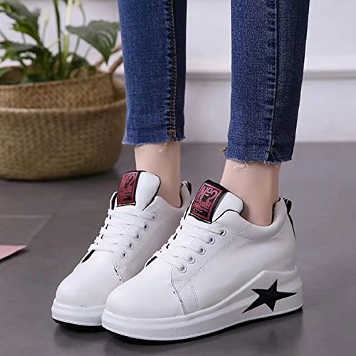 Btrada Womens Wedge Espadrilles Talon-hdden Lacer Up Fond Épais Chaussures Casual Sport Fitness Chaussures De Course Blanc