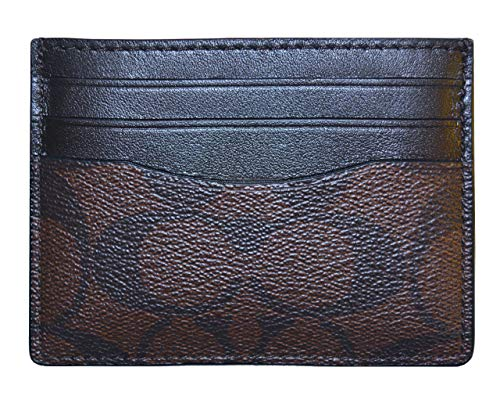 Coach Signature ID Card Mens Wallet Brown Mahogany