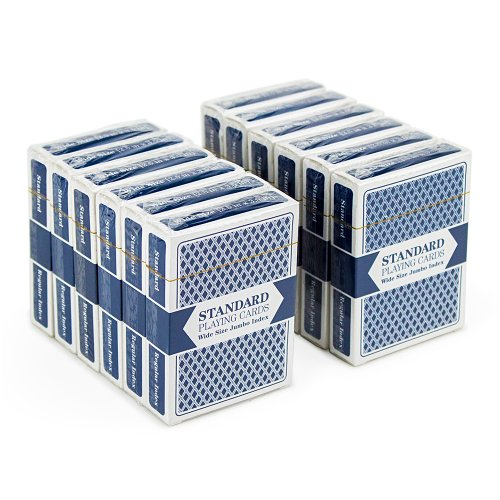 12 Blue Decks, Wide Size, Jumbo-Index, Plastic-Coated Playing Cards by - Bridge Mall Shops