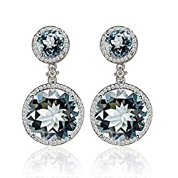 White Gold Diamond Topaz Earrings
