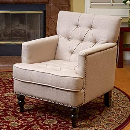 amazon com medford beige fabric club chair kitchen dining