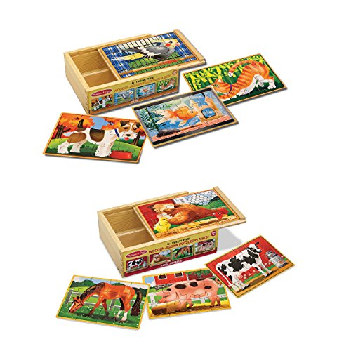 (Melissa & Doug Animals 4-in-1 Wooden Jigsaw Puzzles Set - Pets and Farm)