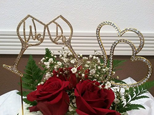 """DOUBLE CAKE TOPPER PACK """"WE DO"""" IN A WINE CUP AND DOUBLE HEARTS IN GOLD RHINESTONES"""