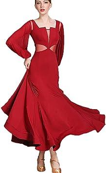Amazon.com: ZTXY Vestidos Latinos Mujer Competencia Rojo ...