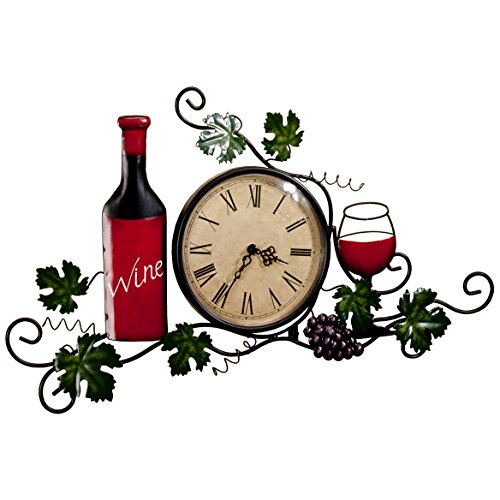 Fox Valley Traders Wine Wall Clock, Roman Numeral, 6 ¼ Diameter Clock Face, Wall Décor (Wine Clock)