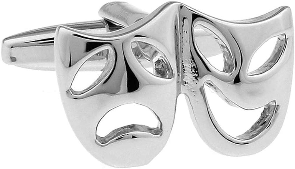 Silver Drama Mask Cufflinks