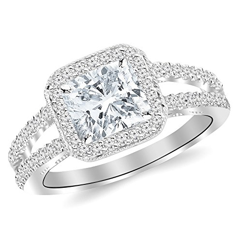 1.5 Ctw 14K White Gold Designer Split Shank Halo Milgrain GIA Certified Diamond Engagement Ring Cushion Cut (1 Ct J Color SI2 Clarity Center Stone)