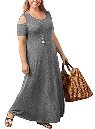 Gloria&Sarah Women's Plus Size Casual Dress Cold Shoulder Short Sleeve Beach Long Maxi Dress with Pocket, Dark Grey, XXL