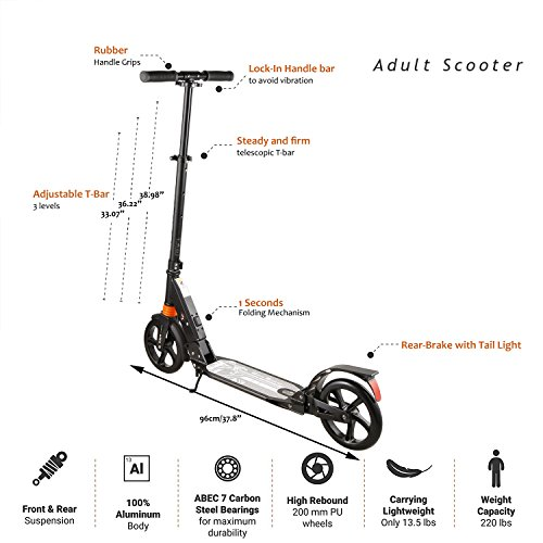 Amazon.com: Anfan Adult/Teen Kick Scooter, 2-Wheel 3 Levels ...
