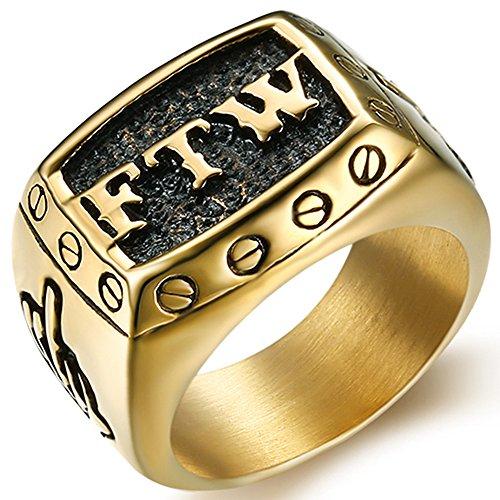Stainless Steel FTW Biker Rider Middle Finger Ring (Gold, 7) -