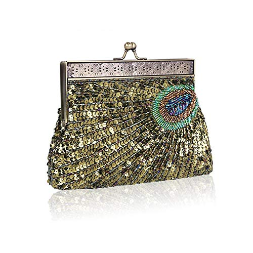 Dinner Beaded Evening Ladies Elegant Fancylande Banquet Sequined Peacock Purse Wedding Mine Party Weekend Bag Bridal Green Clutch COqqpx5w8