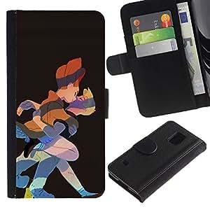 KingStore / Leather Etui en cuir / Samsung Galaxy S5 V SM-G900 / Beso Dibujo del cuento de hadas Princesa Príncipe Arte