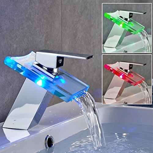 Auralum RGB LED Licht Wasserhahn Glas Waschtisch Spüle Armatur Waschtischarmatur Küchen