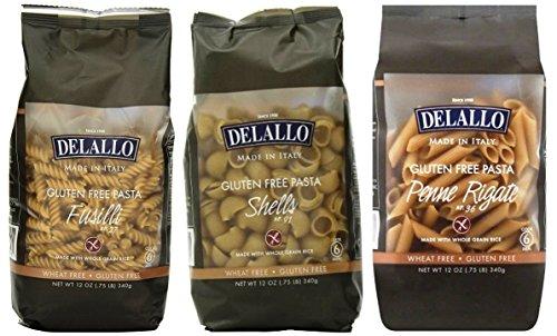 DeLallo Gluten Free Pasta 3 Shape Variety Bundle, (1) each: Penne Rigate, Shells, Fusilli (12 Ounces) ()