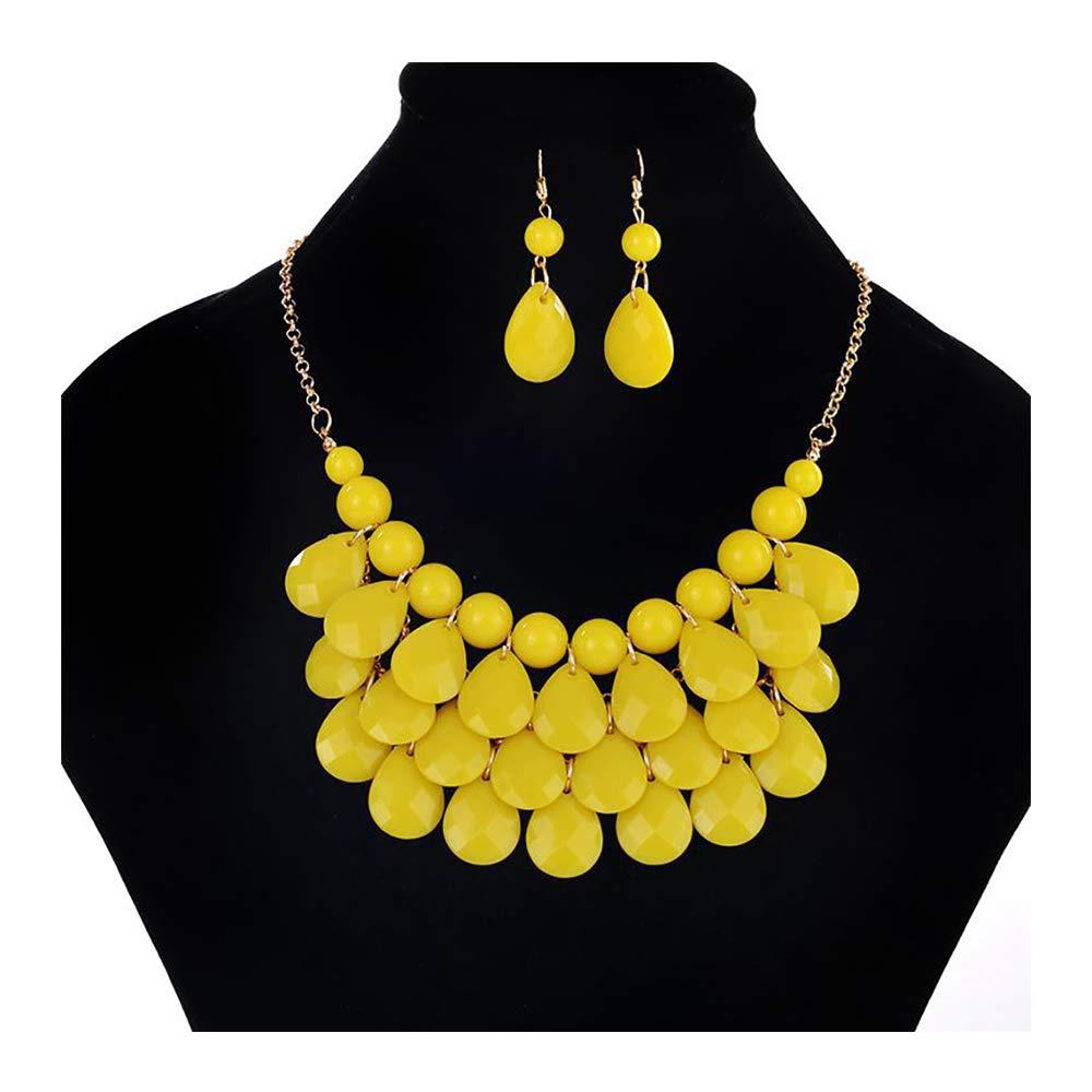 palettei Fashion Floating Bubble Necklace & Earrings Set - Teardrop Bib Collar Statement Jewelry for Women (Yellow)